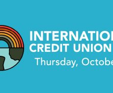 rainbow on top of a half world on the bottom international credit union day Thursday, October 15