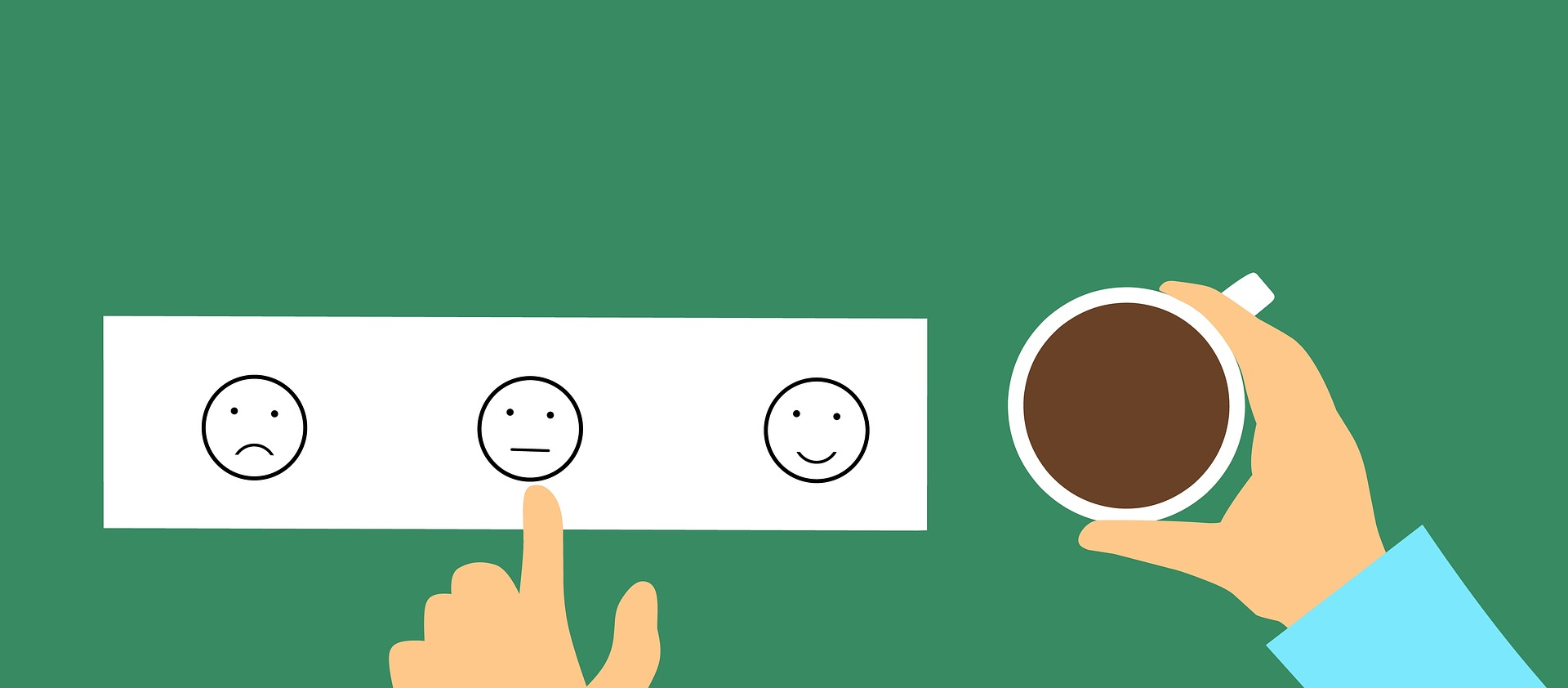 hand with coffee mug pointing at feedback satisfaction faces