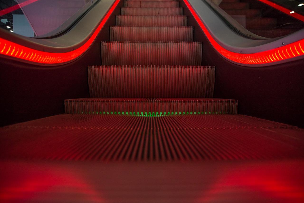 bottom of escalator